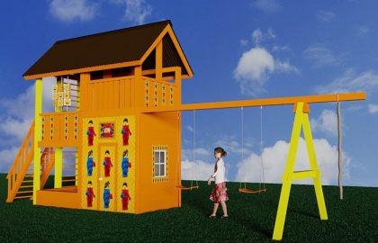 Классический детский деревянный городок Лис2 с росписью LEGO