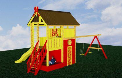 Классический детский деревянный городок Лис2 с росписью хохлома